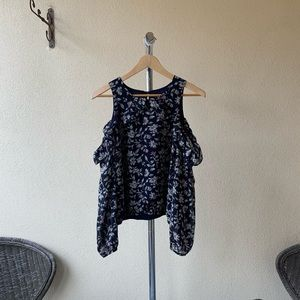 Revolve J.O.A. Los Angeles Navy Blue Blouse Sz L